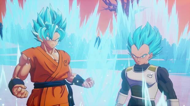 Goku y Vegeta en SSGSS en Dragon Ball Z: Kakarot.