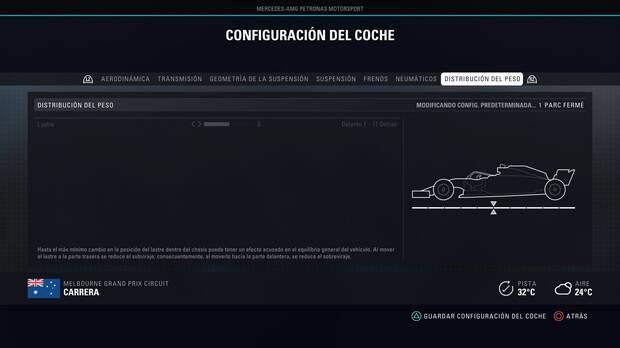 F1 2018 - Reglajes - Distribución del peso