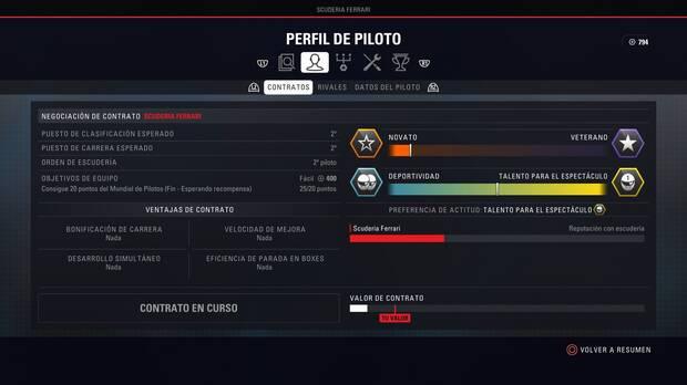F1 2018 - Modo Carrera Profesional - Rendimiento