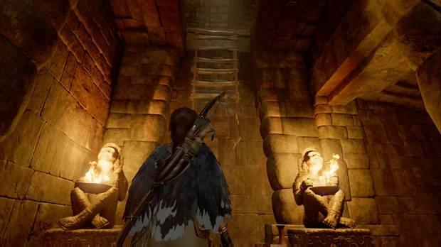 Tumba Templo del Sol: trepa por la escalera y la pared