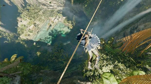 shadow of the tomb raider - el ojo de la serpiente: usa la tirolina para cruzar el cenote
