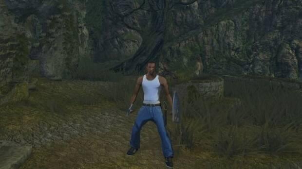 CJ de GTA San Andreas viaja hasta Lordran de Dark Souls Imagen 2
