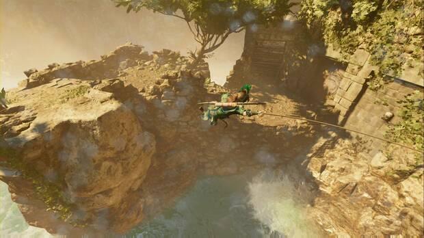 shadow of the tomb raider - el último emperador: usa el salto con piolet para engancharte a la roca