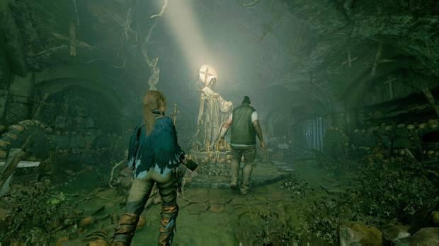 Shadow of the Tomb Raider - Vía crucis: Lara y Jonah exploran la cripta