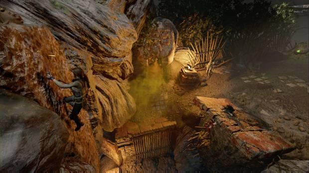 Shadow of the Tomb Raider - Tumba Árbol de la vida: escala por la pared junto al gas