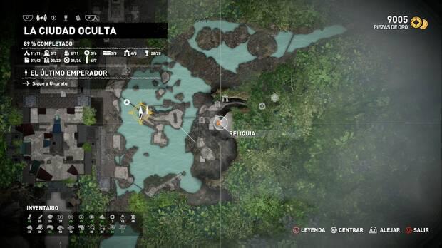 Reliquia Mapa zonas de búsqueda (La ciudad oculta)