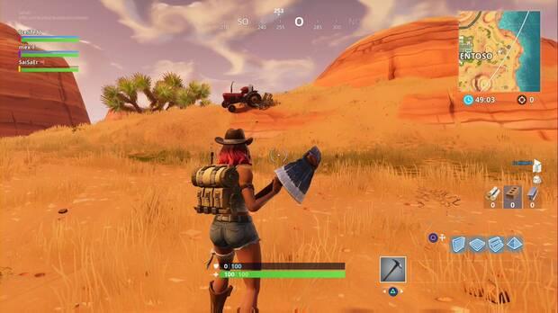 Fortnite Battle Royale - Partida de caza: Oasis ostentoso, localización del tractor en la granja