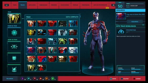 Marvel's Spider-Man - Trajes: Traje negro de Spider-Man 2099
