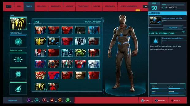 Marvel's Spider-Man - Trajes: Traje de guerra secreta