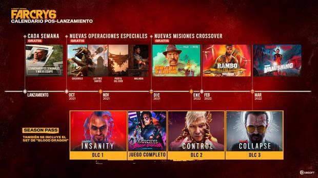 Hoja de ruta del contenido poslanzamiento de Far Cry 6.