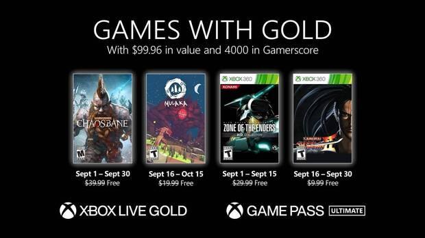 Juegos con Gold de septiembre de 2021.