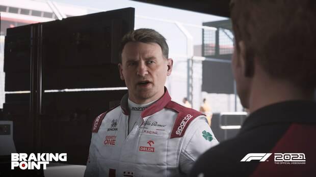 Captura de Braking Point, el modo historia de F1 2021.