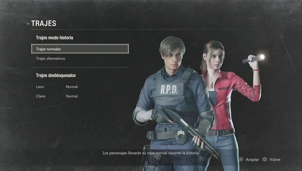 Resident Evil 2 Remake - Pantalla de selección de trajes