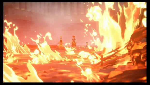 Kingdom Hearts 3 - El Olimpo: Sora, Donald y Goofy miran el incendio