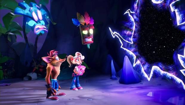Crash Bandicoot 4 - Coco, Crash y Lani-Loli frente a una grieta espacio-temporal