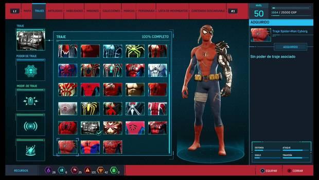 Marvel's Spider-Man - Trajes: Traje de Spider-Man Cyborg