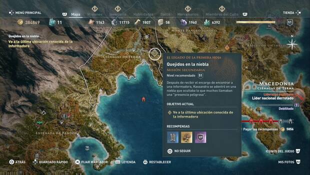Assassin's Creed Odyssey DLC - Quejidos en la niebla: localización