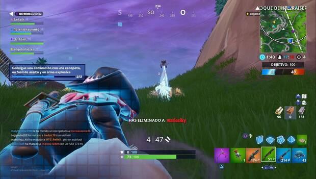 Fortnite Battle Royale - Consigue una eliminación con una escopeta, un fusil de asalto y un arma explosiva
