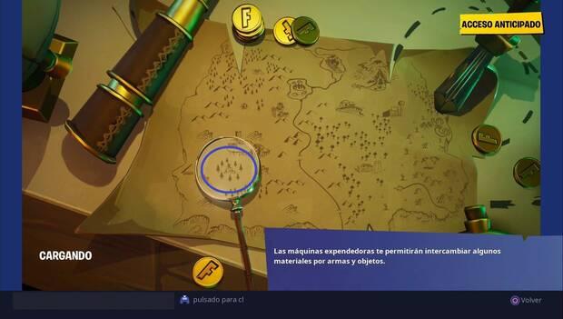 Fortnite Battle Royale - Busca el punto que señala la lupa en la pantalla de carga del mapa del tesoro