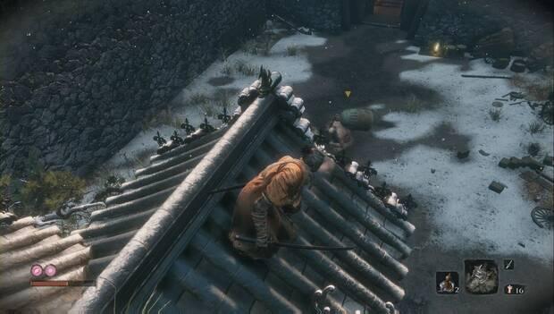 Sekiro - Castillo Ashina: acecha a los enemigos desde el tejado