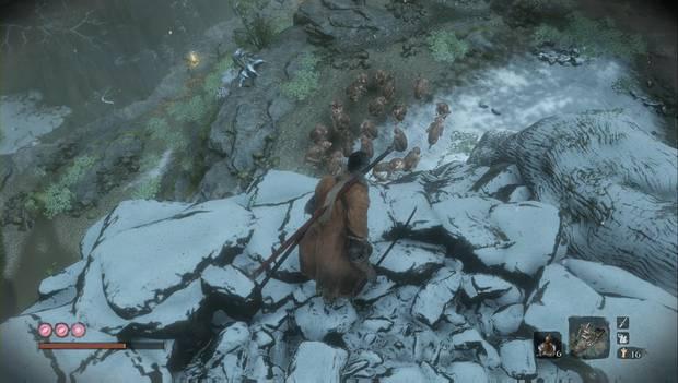 Sekiro - Valle sumergido: grupo de monos salvajes armados