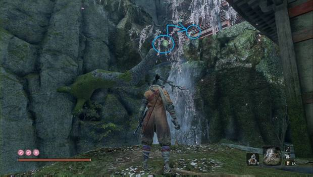 Sekiro - Palacio del Manantial: árbol que te permite rodear a un enemigo
