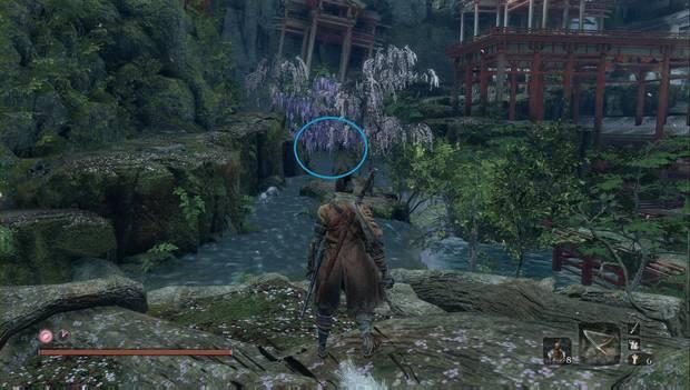 Sekiro: Shadows Die Twice - Guerreros Shichimen: ubicación en el Palacio del Manantial