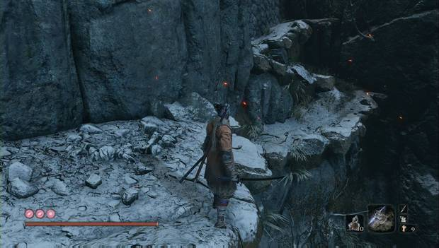 Sekiro - Alrededores de Ashina (Guerra): salta a esta colina para seguir subiendo
