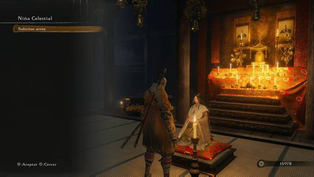 Sekiro: Shadows Die Twice - La Niña Celestial ofrece el Arroz