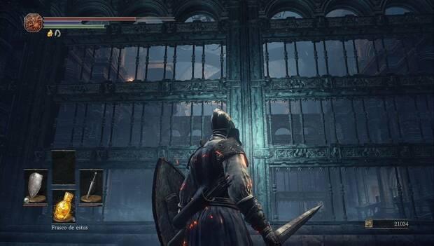 Dark Souls III - Catedral de la Oscuridad: las dos rejas de la galería de los gigantes están levantadas