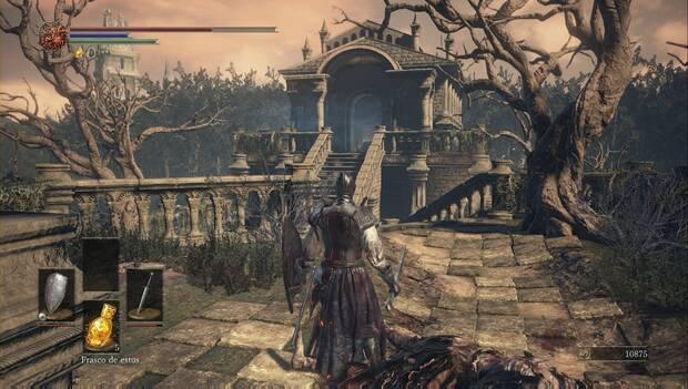 Dark Souls III - Catedral de la oscuridad: cripta frente a las puertas de la catedral