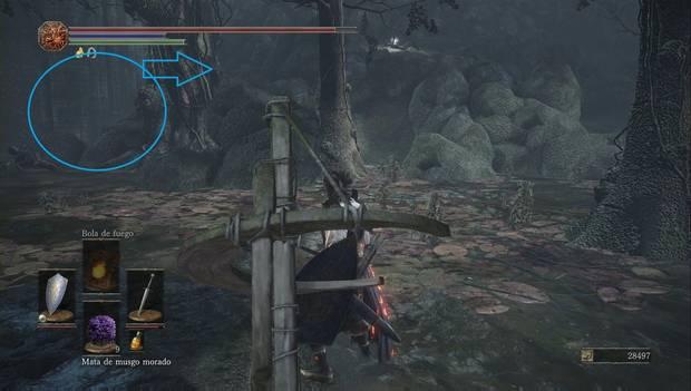 Dark Souls III - Torreón de Farron: cueva en medio de la zona de los basiliscos