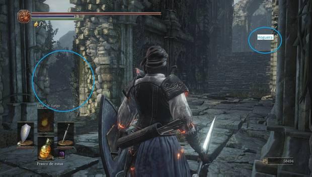 Dark Souls III - Torreón de Farron: pared por la que puedes dejarte caer
