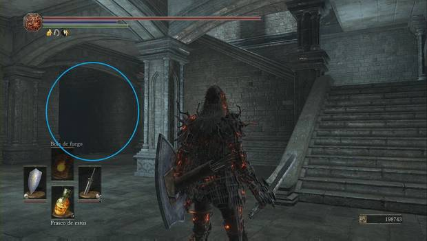 Dark Souls III - Irithyll del Valle Boreal: escaleras al sótano de la torre de la catedral