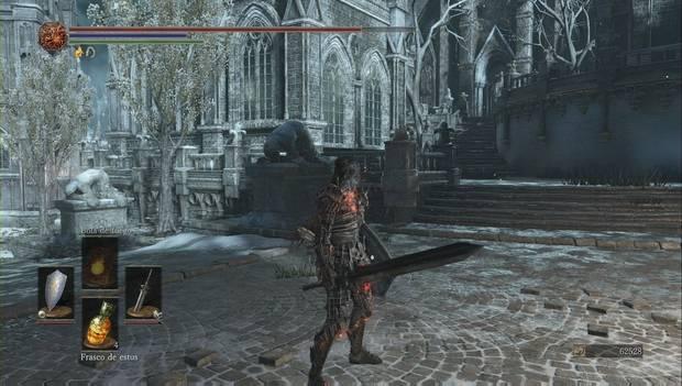 Dark Souls III - Irithyll del Valle Boreal: escaleras a la izquierda de la entrada principal de la catedral