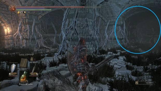 Dark Souls III - Lago ardiente: otro muro ilusorio en la sala de las ratas