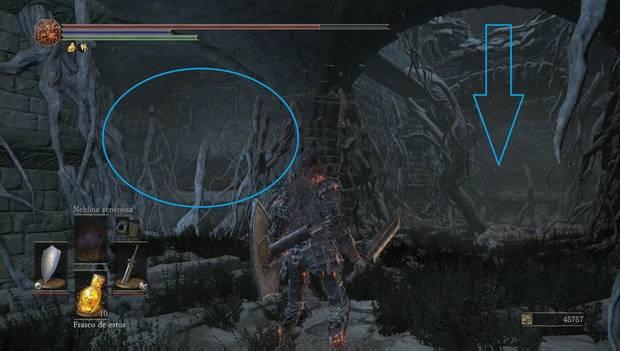 Dark Souls III - Lago ardiente: un nuevo muro ilusorio en el agujero con la rata gigante