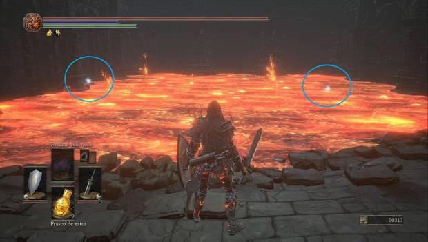Dark Souls III - Lago ardiente: segunda piscina de lava con objetos