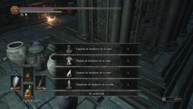 Dark Souls III - Capital Profanada: set de hechicero de la corte entre los jarrones de la torre