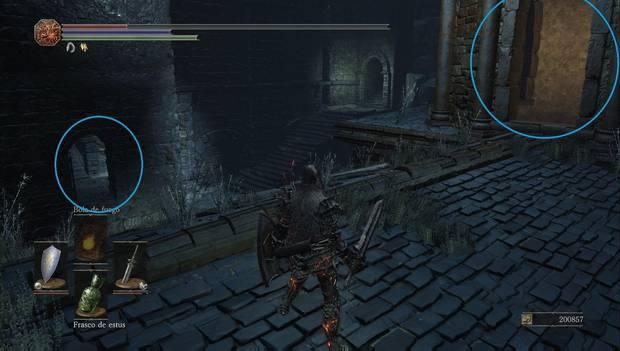 Dark Souls III - Capital Profanada: puertas abiertas desde el tejado del torreón