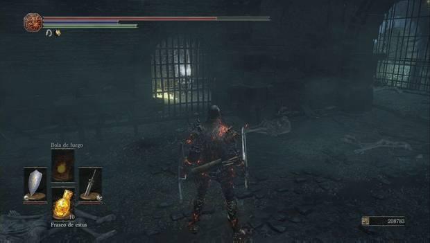Dark Souls III - capital Profanada: reja cerrada en la sala de guardia