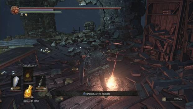 Dark Souls III - Capital Profanada: escalera para ir a la zona de Yhorm