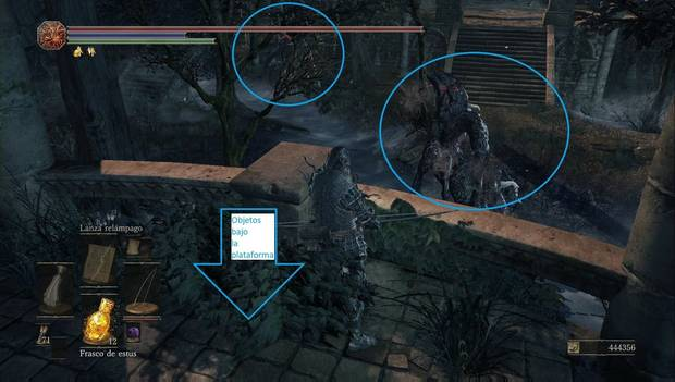 Dark Souls 3 - Jardín del Rey Consumido: plataforma central del pantano del jardín