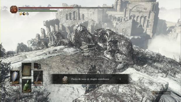 Dark Souls 3 - Pico del Archidragón: altar en el que rezar para conseguir la piedra de torso de dragón