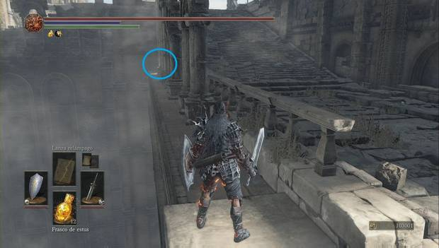 Dark Souls 3 - Pico del Archidragón: anillo de protección de acerooculto tras las columnas