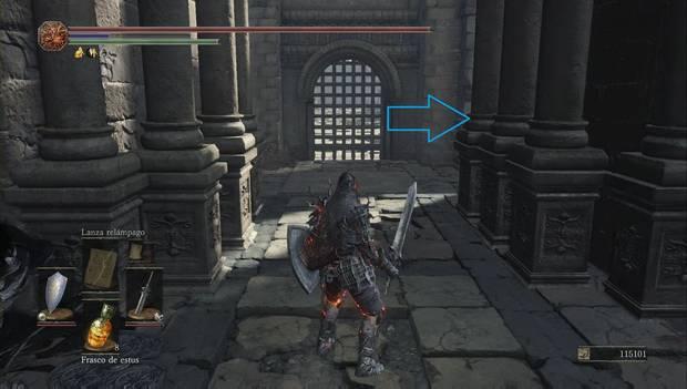 Dark Souls 3 - Pico del Archidragón: escalera hacia la puerta a la derecha del rastrillo del gran puente