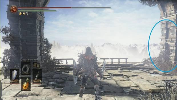 Dark Souls 3 - Pico del Archidragón: escalera de mano oculta tras una columna