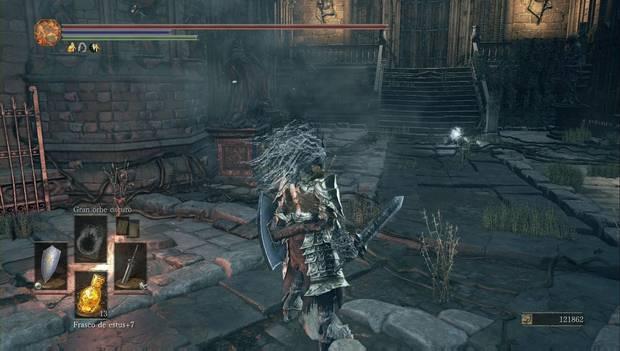 Dark Souls 3 - Gran Archivo: cadáver de la mano engra al pie del Gran Archivo