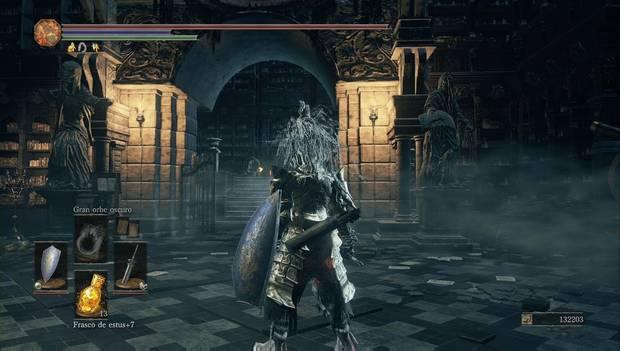 Dark Souls 3 - Gran Archivo. arco de piedra para seguir subiendo por la biblioteca