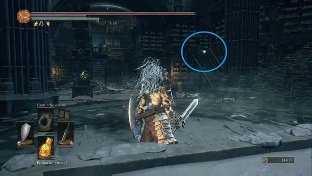 Dark Souls 3 - Gran Archivo: escama de titanita delante del altar de cera